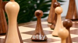 Reproduit Moderne Mid Century Minimaliste Hermann Ohme jeu d échecs lesté en bois. M0035