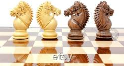 Rio Staunton Biggie Knight Acacia Wood 4 Chess Set 21 Folding Chess Board with Algebraic Notation 2 Extra Queens
