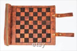 Roll Up Leather Chess Board, Échiquier personnalisé, Jeu de voyage