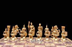 Roman Art solide Brass complet Chess Set Brass Cuivre Couleur Enduit 3,5 Roi avec 13,5 jeu d échecs en métal d échecs-The Chess Empire