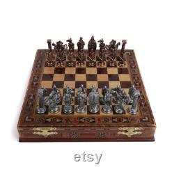 Royal British Army Antique Copper Metal Chess Set, Pièces faites à la main et Natural Solid Wooden Chess Board avec stockage à l'intérieur du roi 3.35inc