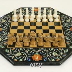 Table d'échecs échiquier fabriqué à la main avec des pièces d'échecs en marbre travail d'incrustation en pierre naturelle Vintage