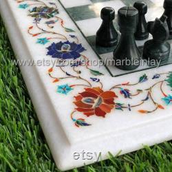 Table d'échecs en marbre pièces d'échecs en incrustation à la main jeu d'échecs