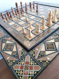 Table d échecs et de backgammon, carte d échecs en bois de cadeau de Noël, table de poker et de cartes, mosaïque syrienne incrustée avec marqueterie de nacre