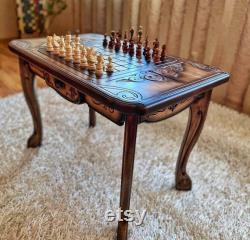 Table d échecs faite à la main