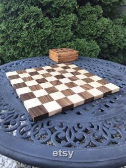 Taille du tournoi 18 pouces En bois Échiquier Érable et noyer Jeu de société fait main pour les anniversaires, vacances Cadeau pour votre joueur d échecs