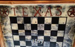 Texas Checkers. grand panneau de contrôle, échiquier, bois réclamé, signe de salle de jeu, art folklorique, checkers rustiques, échecs rustiques- Encadré