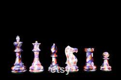The Carnival Series pièces d échecs en bois de luxe White and Purple 4 King staunton pièces d échecs The Chess Empire