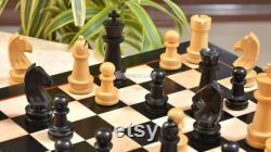 The Championship Series Staunton Chess Set in Ebonized Boxwood Natural Boxwood 3.75 King SKU R0340