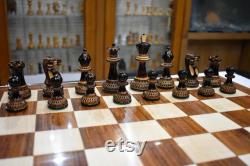 The Parker Boxwood Burnt Series luxury chess set with 3.75 King chess pieces 18 Folding Chess Board- complete chess set-The Chess Empire