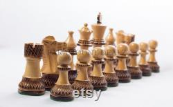 The Royal Series Parker Burnt vintage Russian Staunton Chess Pieces Set with Storage Box 3.75 King Size