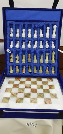 Top Quality Multi Color Onyx and Marble Hand made Chess Set