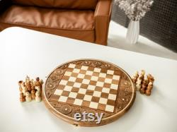 USA Shipping Handcrafted Wooden Chess board and pieces, Hand Carved Chess Set, Handmade Gift Chess set for father husband him, Ships from US