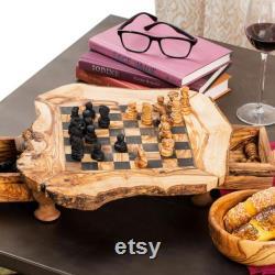 Unique Olive Wood Rustique Chess Set Board avec des bords naturels, Chessboard en bois exotique en bois, cadeau d anniversaire, cadeau de papa, cadeau de Noël