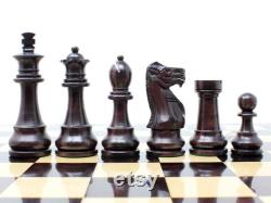 Unique Staunton Ringy Rosewood Weighted Chess Set King Height 3.75 and 17 Flat Chess Board with Algebraic Notations 2 Extra Queens
