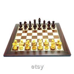 Valentine s Day Gift.Indian MDF Laminated Board with Rosewood and Maple Finish, 32 Pièces d échecs pondérées, Sac de rangement plat d ensemble d échecs de voyage.
