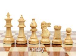 Victorian Staunton Golden Acacia Wood 3 Chess Set 14 Pliage Chess Board avec notation gravée algébrique 2 Reines Supplémentaires Fait main