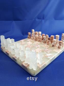 Vintage à la main sculptée aztèque marbre mini jeu de société d échecs