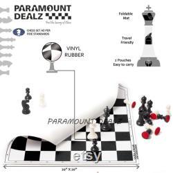 Vinyl Chess Board Game Set avec 2 Extra Queens et Grand Master Edition Chess Bag, Scorebook Stylo métallique 20 pouces