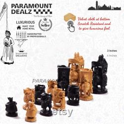 WOODEN INDIAN CHESS Royal Maharaja Indian Chess Pieces Chess Pieces vintage Chess Pieces And Box Handcrafted Chess