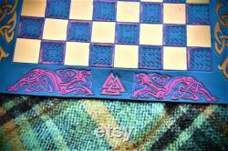 échiquier nordique, échiquier viking, jeu celtique, échiquier en cuir, échiquier médiéval, jeu médiéval, échiquier viking loup