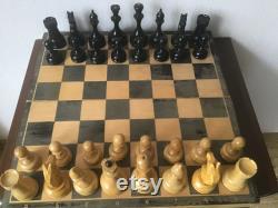 jeu d échecs en bois de grand-maître de cru 60-s avec des matériaux de pondération, jeu d échecs de tournoi, échecs en bois soviétiques, grands échecs, échecs massifs