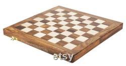 jeu d échecs en bois vintage, 14 pouces main découpée ensemble d échecs pliants
