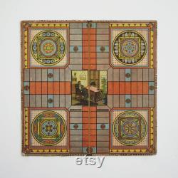 planche parcheesi antique, plateau de jeu antique, plateau de jeu d art folklorique, plateau de jeu americana, art folklorique, jeu de parcheesi, jeu de société antique