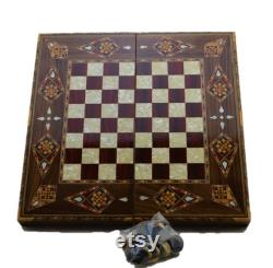 vintage Game Set Handmade Backgammon Set,Chess Board,Checkers Natural Solid Wooden,Original Pearl Around Board Medium Size White-Rose