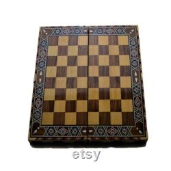 vintage Game Set Handmade Backgammon Set,Chess Board,Checkers Natural Solid Wooden,Original Pearl Around Board Medium Size Mosaic and Brown